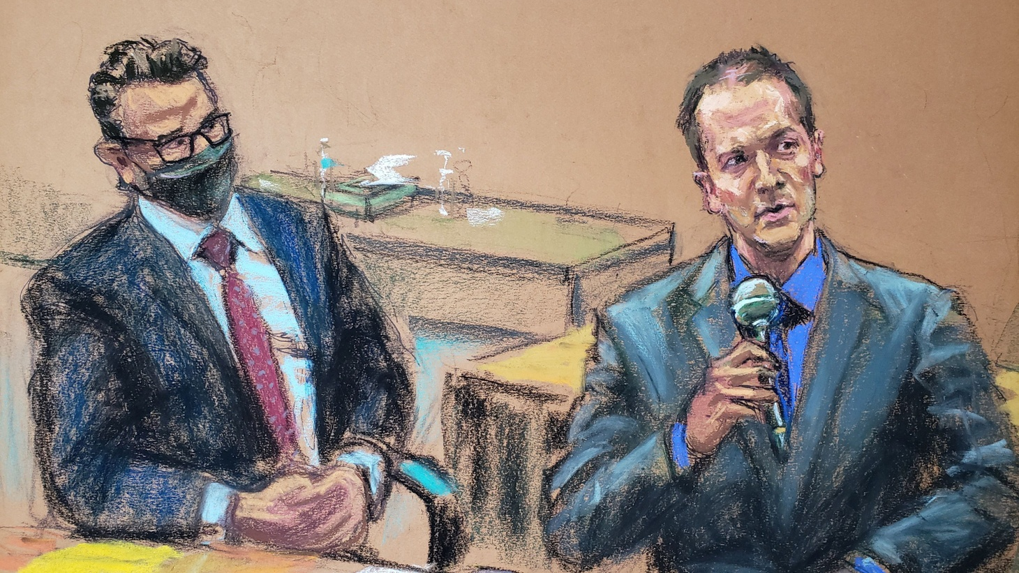 In this courtroom sketch, former Minneapolis police officer Derek Chauvin tells the judge that he waived his right to testify to the jury, next to his defense attorney Eric Nelson, on the fourteenth day of Chauvin's trial in the death of George Floyd in Minneapolis, Minnesota, U.S. April 15, 2021.