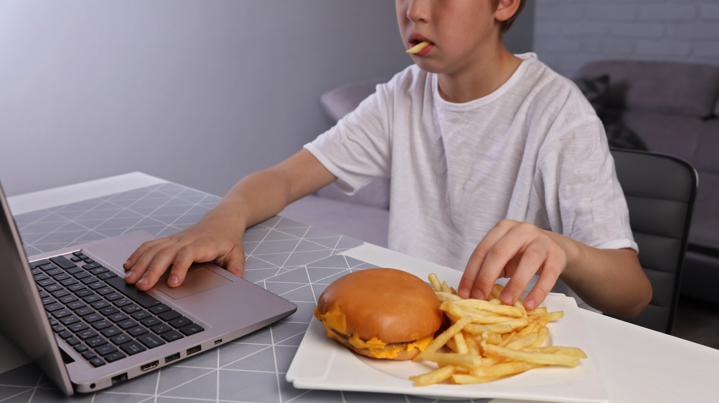 An adolescent eats fries and a hamburger while using their computer.
