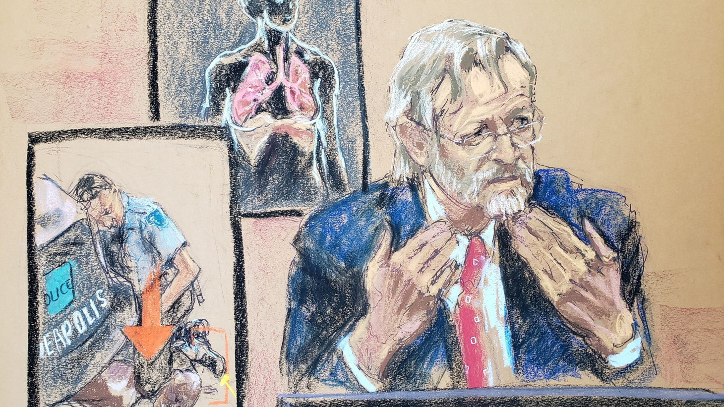 In this courtroom sketch, pulmonologist Dr. Martin Tobin testifies on the ninth day of the trial of former Minneapolis police officer Derek Chauvin for second-degree murder, third-degree murder and second-degree manslaughter in the death of George Floyd in Minneapolis, Minnesota, U.S. April 8, 2021.