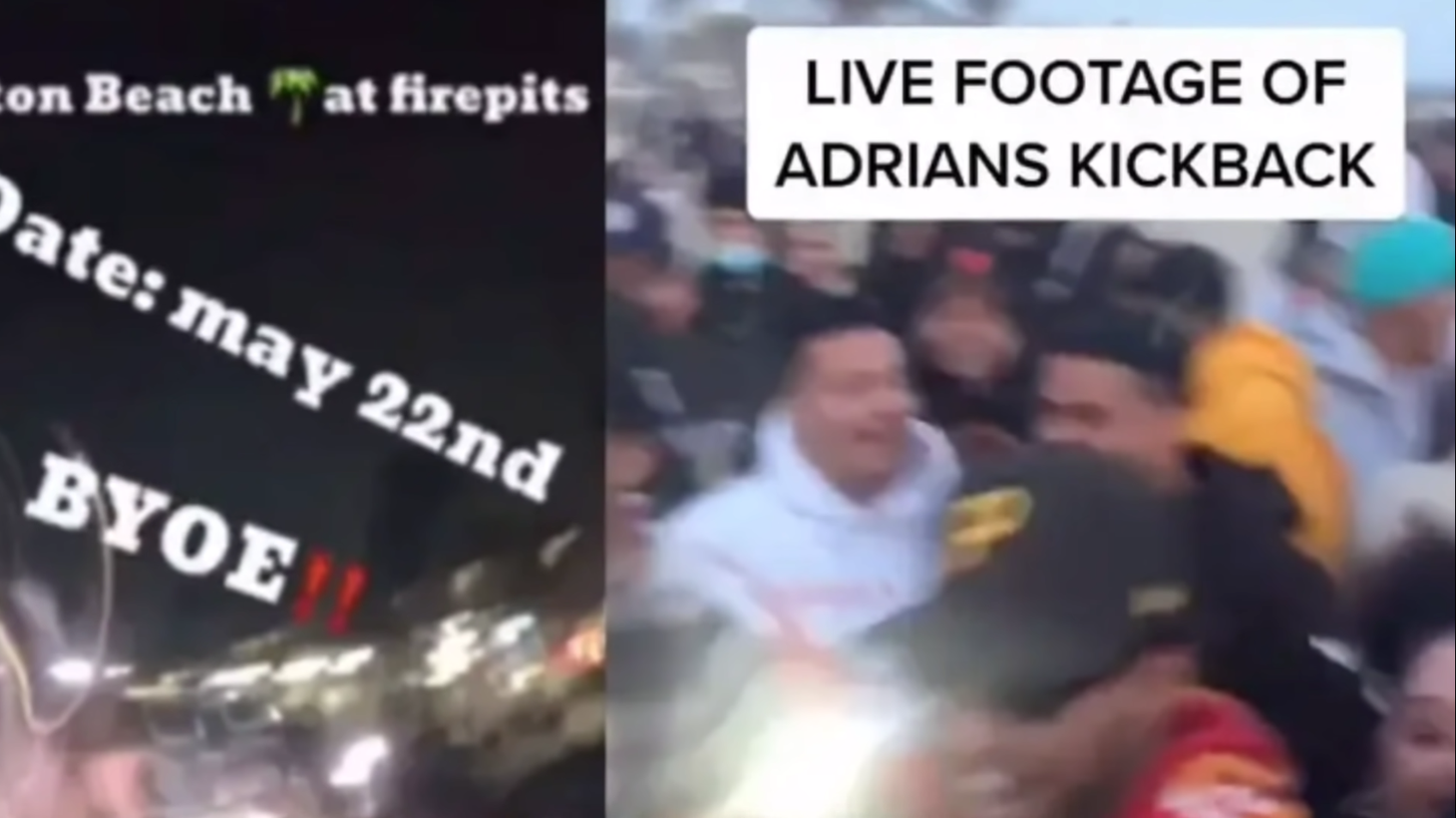 """""""Adrian's kickback,"""" a party that was promoted on TikTok, quickly devolved into mayhem in Huntington Beach on May 22, 2021."""