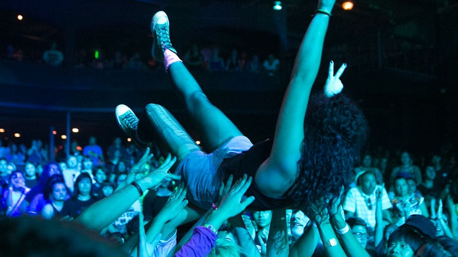 Bands and fans assemble for Burger Records' Burger-A-Go-Go at the Observatory venue in Santa Ana, August 2, 2014.