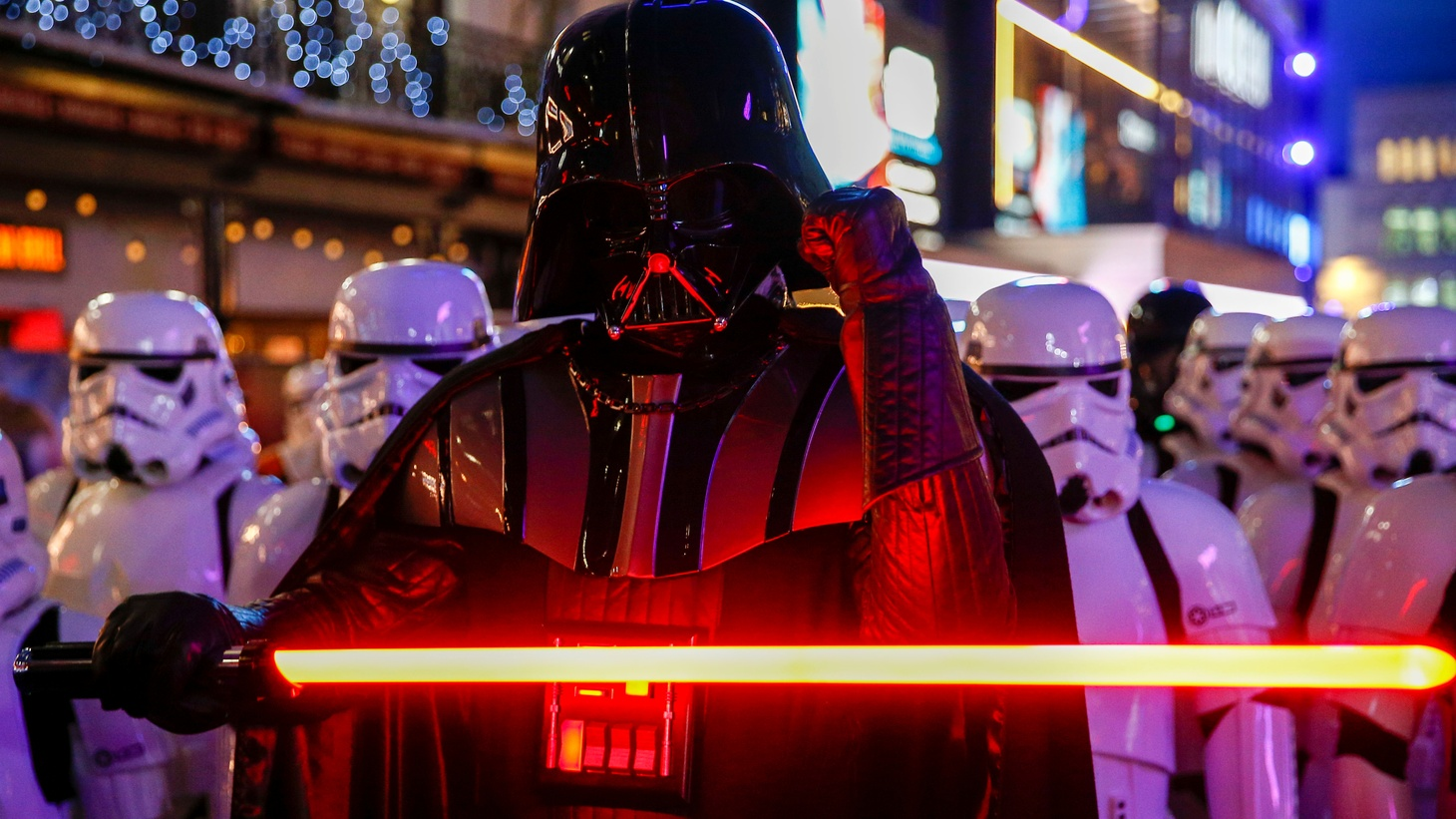 """People dressed as characters attend the premiere of """"Star Wars: The Rise of Skywalker"""" in London, Britain, December 18, 2019."""