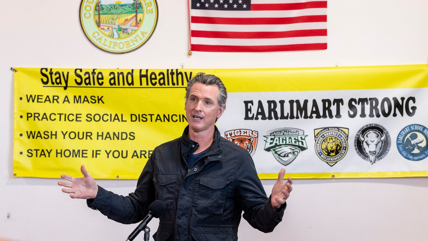 California Gov. Gavin Newsom discusses vaccine equity during his visit to Earlimart Veterans Memorial Building on Monday, March 8, 2021. Tulare County Board of Supervisors Chairwoman Amy Shuklian introduced the governor and repeated the need to provide vaccine protection for farmworkers.