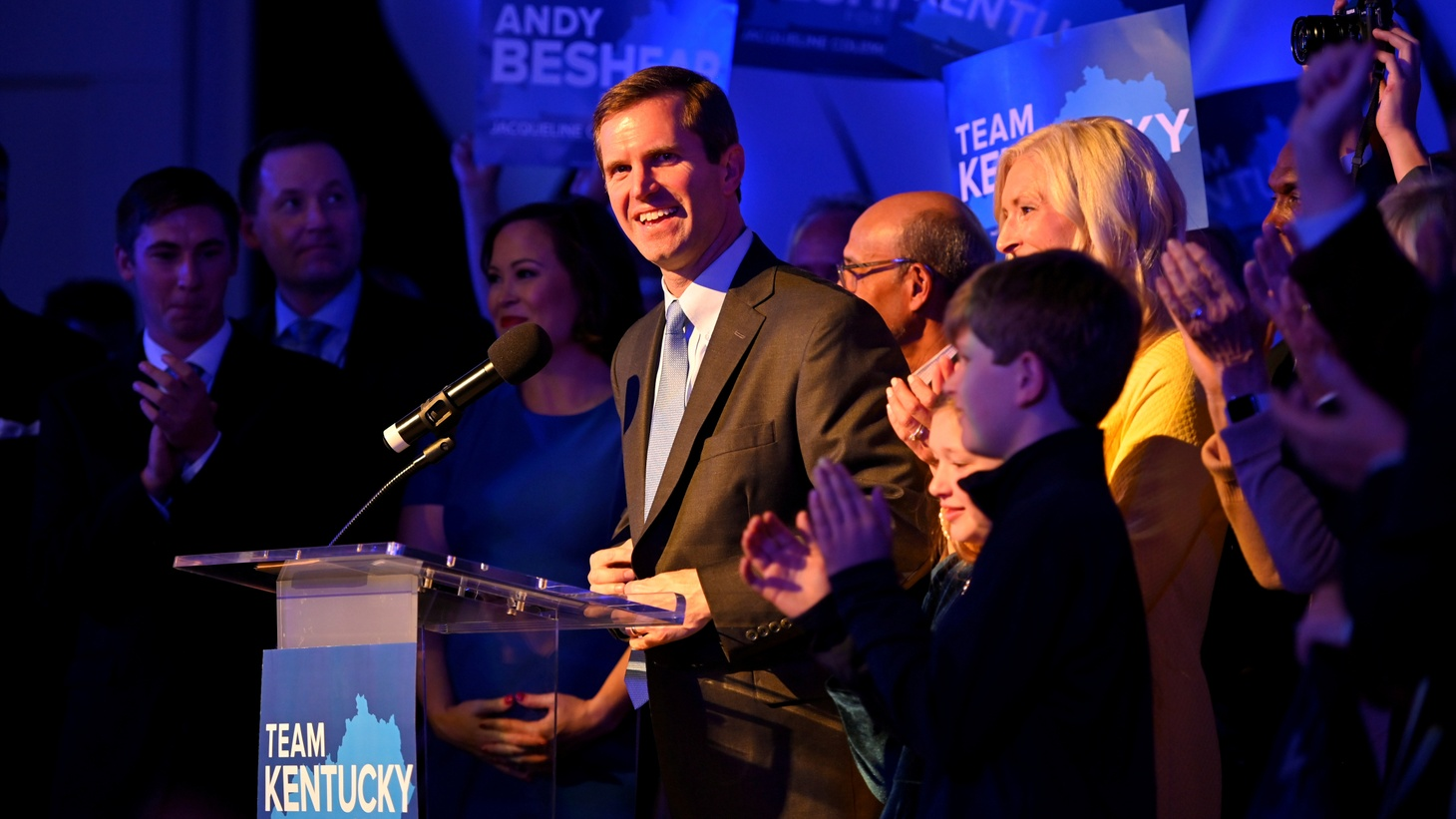 Kentucky's Attorney General Andy Beshear, running for governor against Republican incumbent Matt Bevin, reacts to statewide election results at his watch party in Louisville, Kentucky, U.S. November 5, 2019.