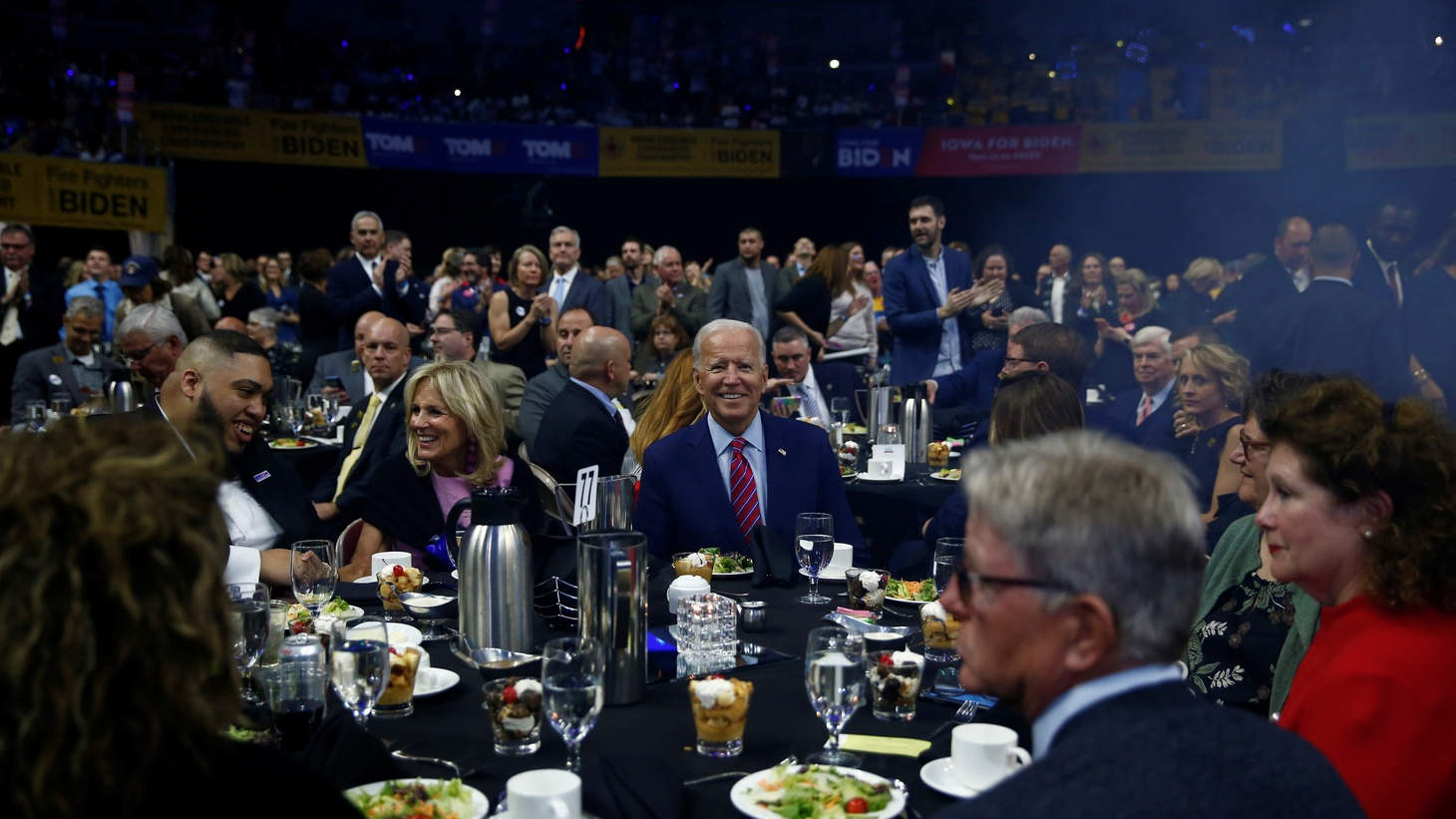 Democratic 2020 U.S. presidential candidate former Vice President Joe Biden sits at a table at a Democratic Party fundraising dinner, the Liberty and Justice Celebration, in Des Moines, Iowa, U.S. November 1, 2019.