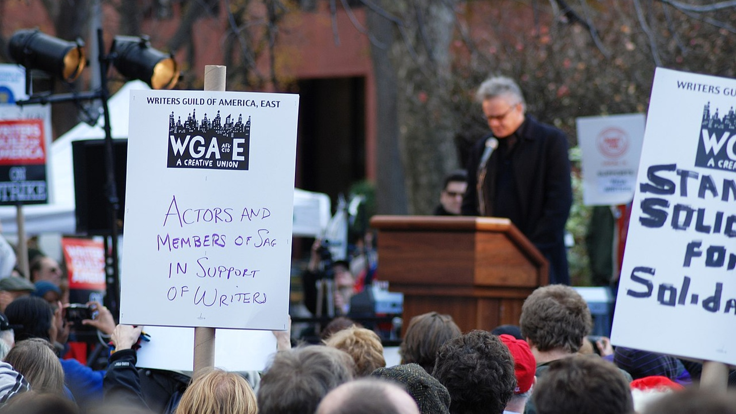 Writer's Guild of America East Soladarity Rally in Washington Square .