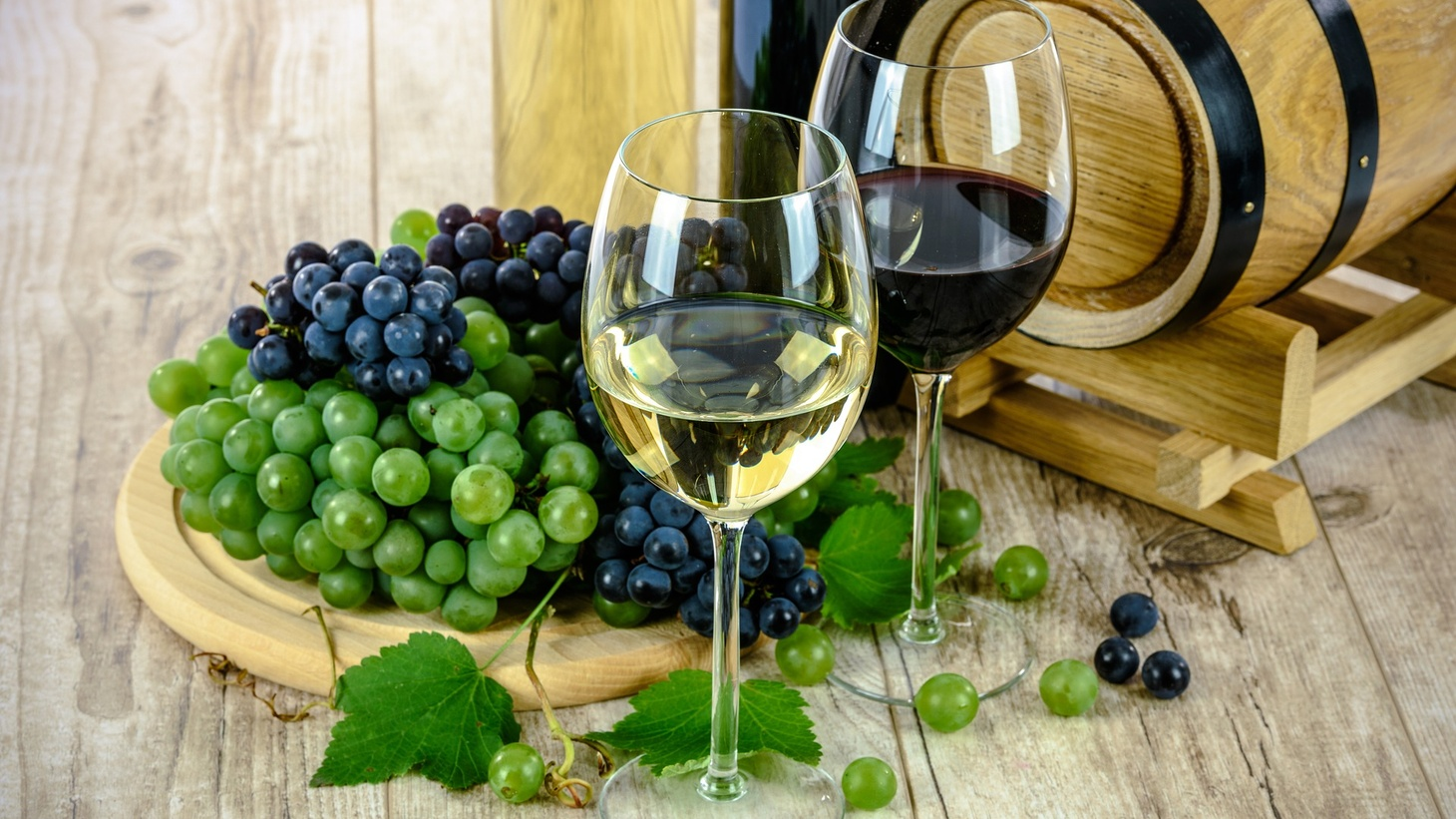 Grapes and wine.