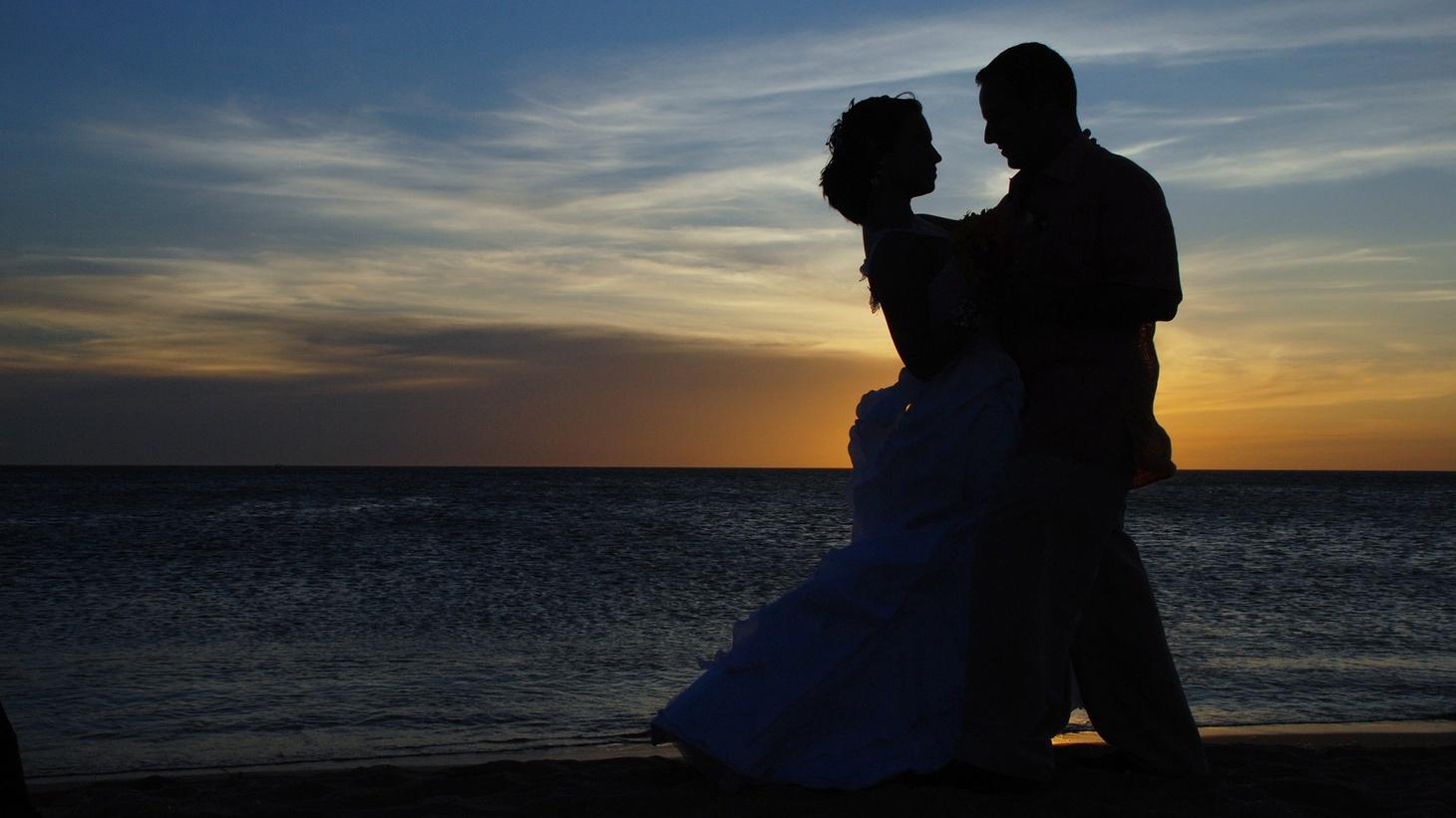 A couple on the beach.