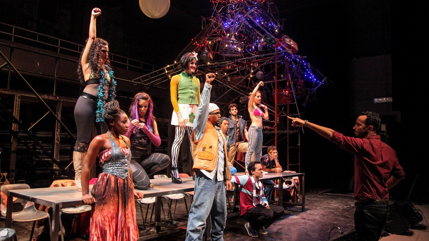 Andy Señor, Jr. (far right) and the cast of RENT in Cuba.