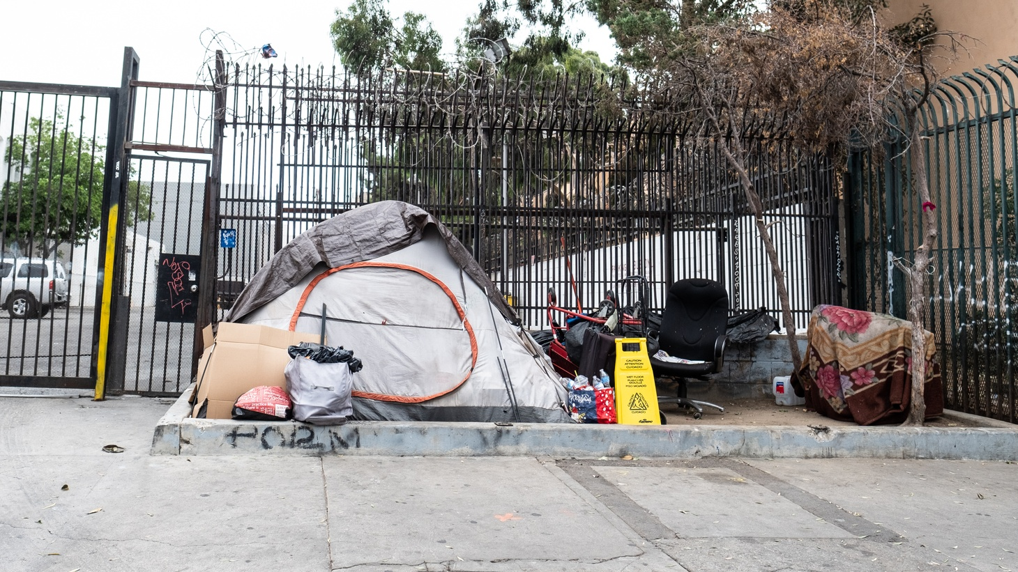 A homeless encampment sits along Los Angeles' Skid Row. Judge David Carter has ordered LA to offer shelters to people living on Skid Row by October 18, 2021.