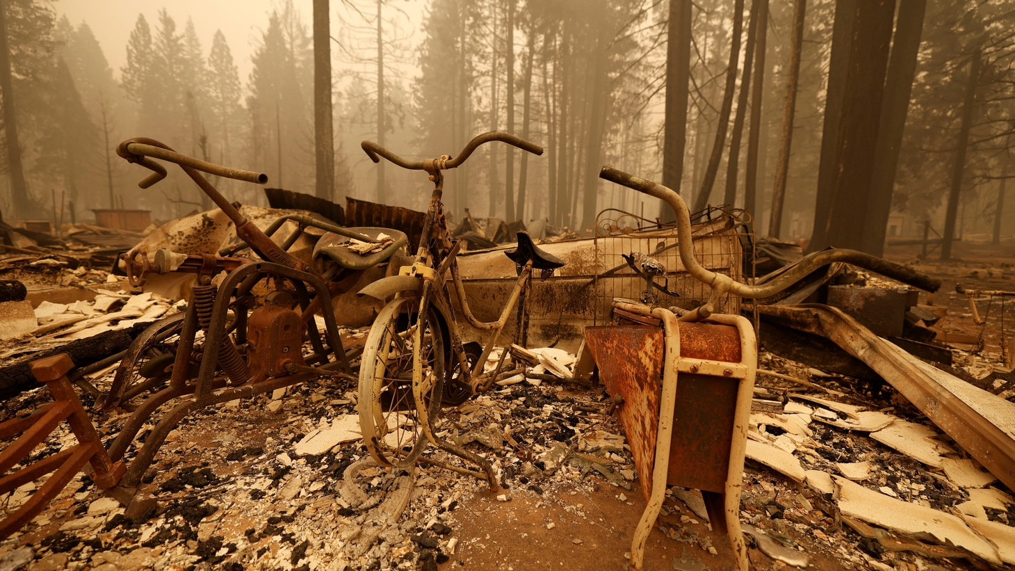 Burned exercise bicycles are seen after the passing of the Dixie Fire, a wildfire near the town of Canyondam, California, U.S. August 7, 2021.