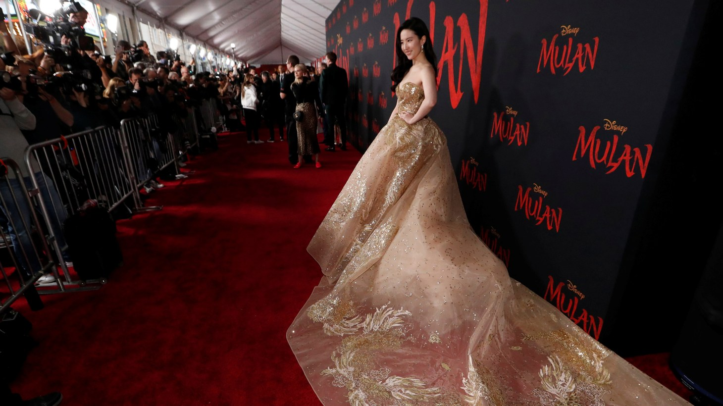 "Actress Liu Yifei poses at the premiere for the film ""Mulan"" in Los Angeles, California, U.S., March 9, 2020."