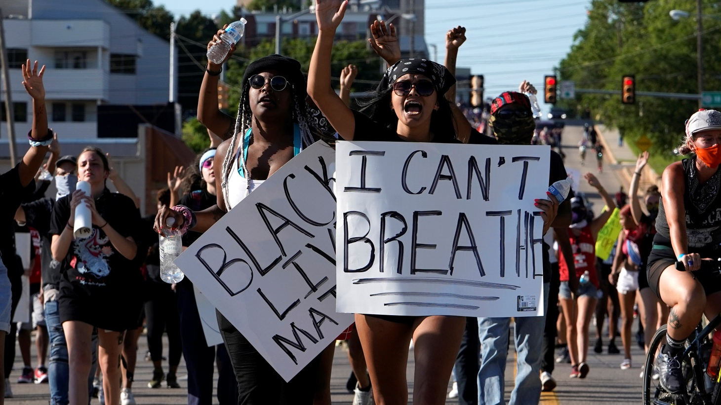 People attend a protest during nationwide unrest following the death in Minneapolis police custody of George Floyd in Oklahoma City, Oklahoma, U.S., May 31, 2020.