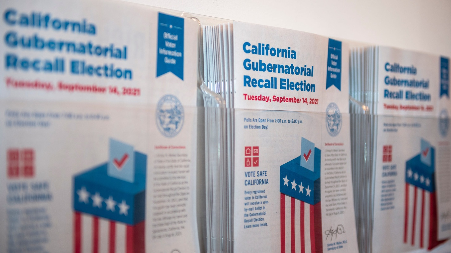 California gubernatorial recall election information guides are placed inside the Monterey County Elections office in Salinas, Calif., on Thursday, Aug. 12, 2021.