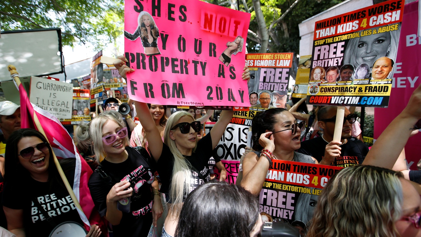 People protest in support of pop star Britney Spears on the day of a conservatorship case hearing at Stanley Mosk Courthouse in Los Angeles, California, U.S., July 14, 2021.