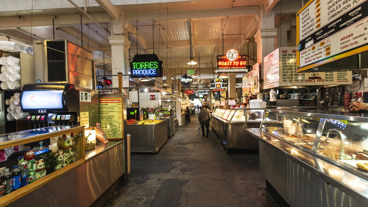 LA's Grand Central Market is mostly empty. Tourists and locals are avoiding the market due to coronavirus fears.