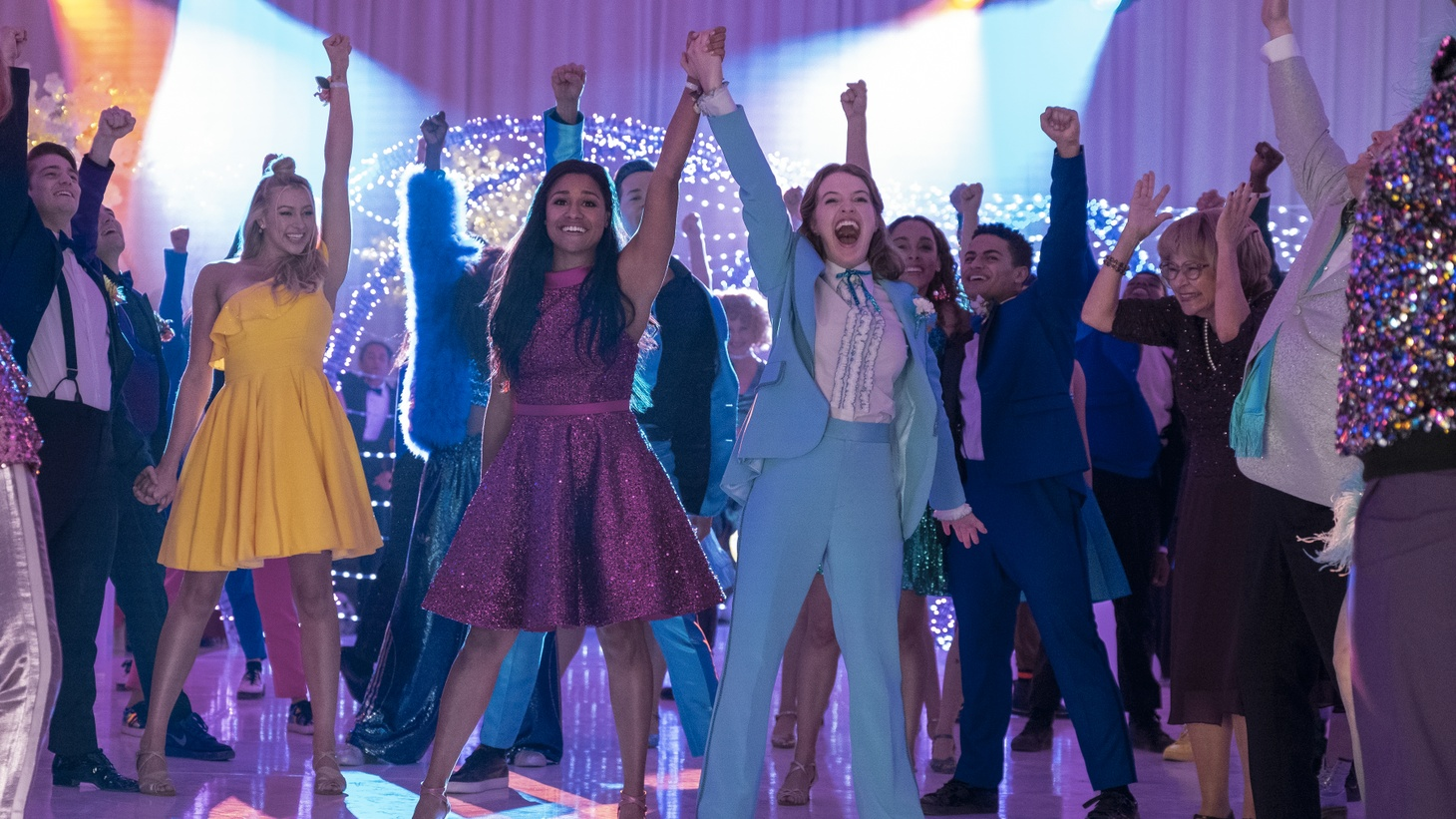 """Nico Greetham as Nick, Logan Riley Hassel as Kaylee, Ariana Debose as Alyssa Greene, Andrew Rannells as Trent Oliver, Jo Ellen Pellman as Emma, Sofia Deler as Shelby, Nathaniel Potvin as Kevin, Tracey Ullman as Vera, James Corden as Barry Glickman in """"The Prom."""""""