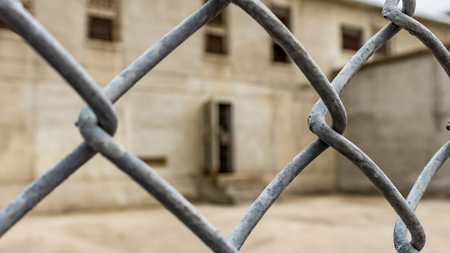 A wire fence surrounds the exercise yard for death row inmates at the Idaho State Penitentiary, Boise, Idaho, USA.