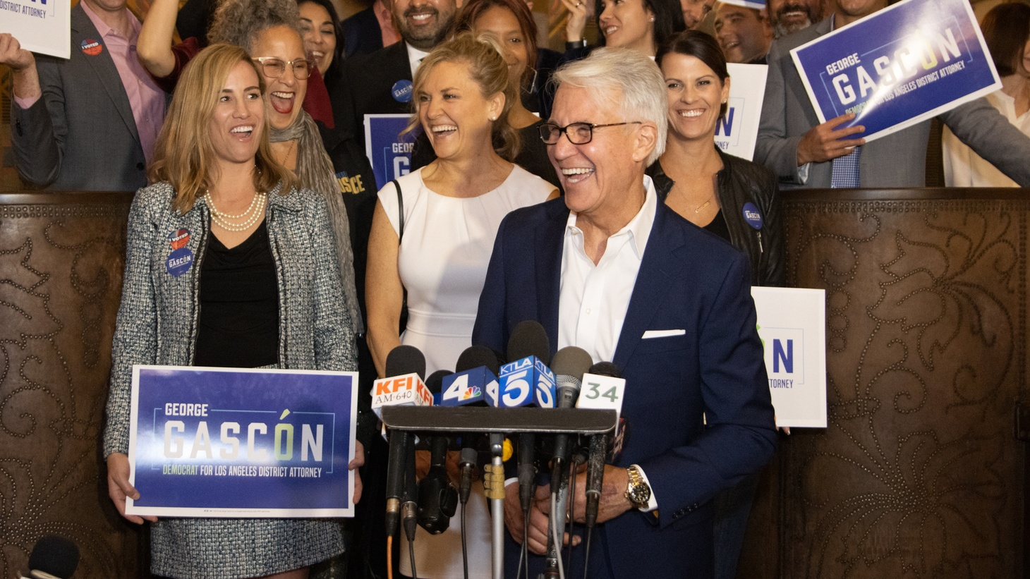 """George Gascón at an election night party on March 3, 2020. He tells KCRW today, """"There are some people that will continue to oppose reform as they have for many years. They have questions, but they're looking for answers too, and they will work with us. This is going to be an evolution. It's not going to happen overnight."""""""