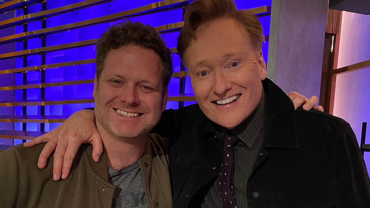 """Matt O'Brien (left) tells us what it's like writing for """"Conan"""" on TBS during quarantine. He's pictured with Conan O'Brien (right)."""