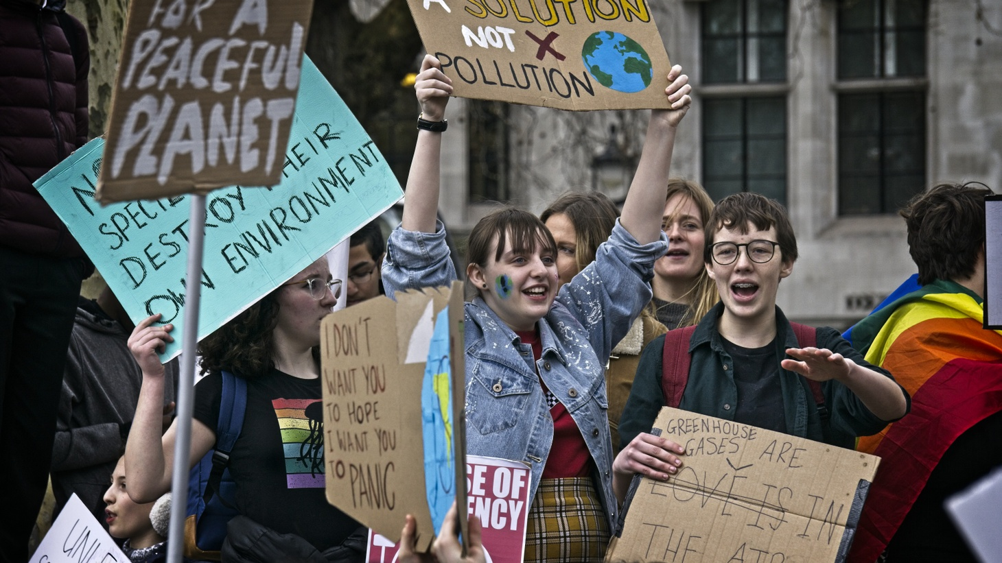 Young activists participate in the Global Climate Strike in London on March 15, 2019.