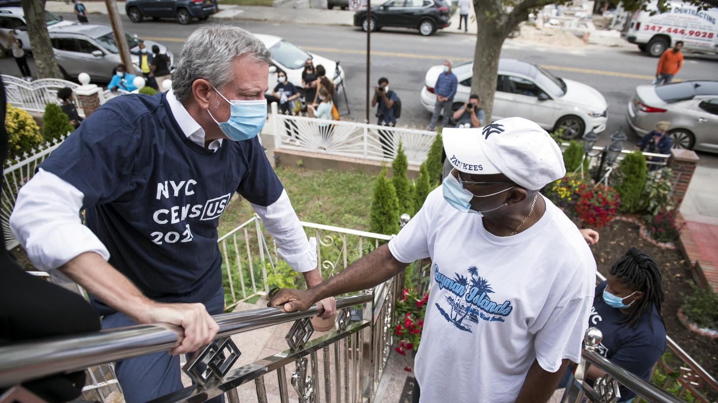 Mayor Bill de Blasio participates in a campaign to encourage New Yorkers to complete the U.S. Census in New York, United States on Thursday, September 19, 2020. Today, November 30, 2020, the Supreme Court hears arguments on whether undocumented immigrants should be excluded from the U.S. Census.