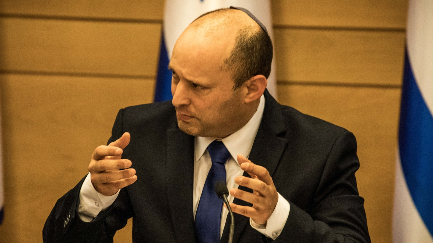 New Israeli Prime Minister Naftali Bennett attends his first cabinet meeting at the Israeli Parliament (Knesset).