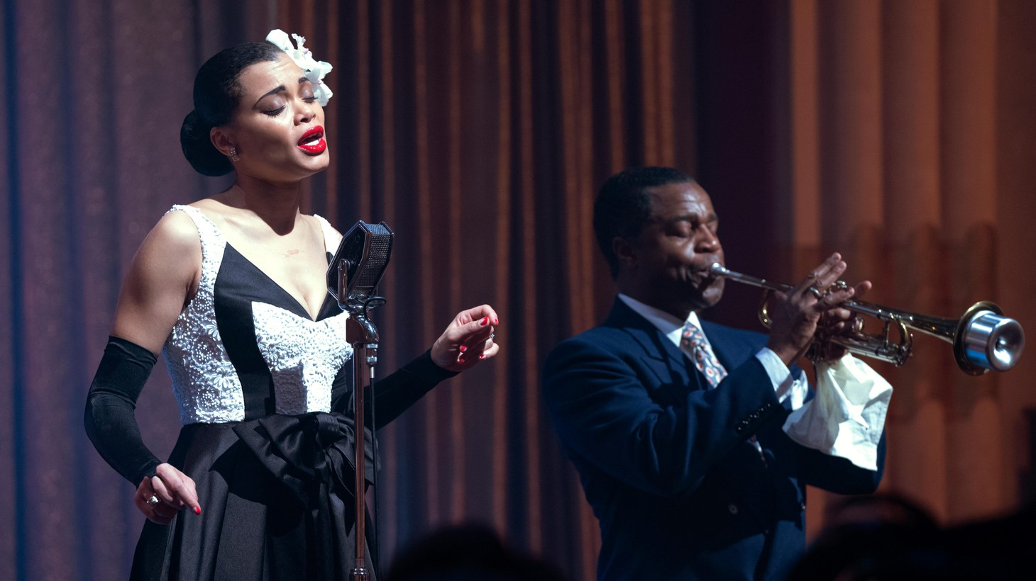 """Billie Holiday (Andra Day) and Louis Armstrong (Kevin Hanchard) in """"The United States vs. Billie Holiday."""""""