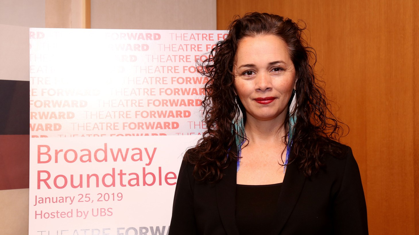 """Larissa FastHorse at the Theatre Forward's Broadway Roundtable at UBS Headquarters in New York, Jan 25, 2019. FastHorse won a MacArthur """"genius"""" grant today, October 6, 2020."""