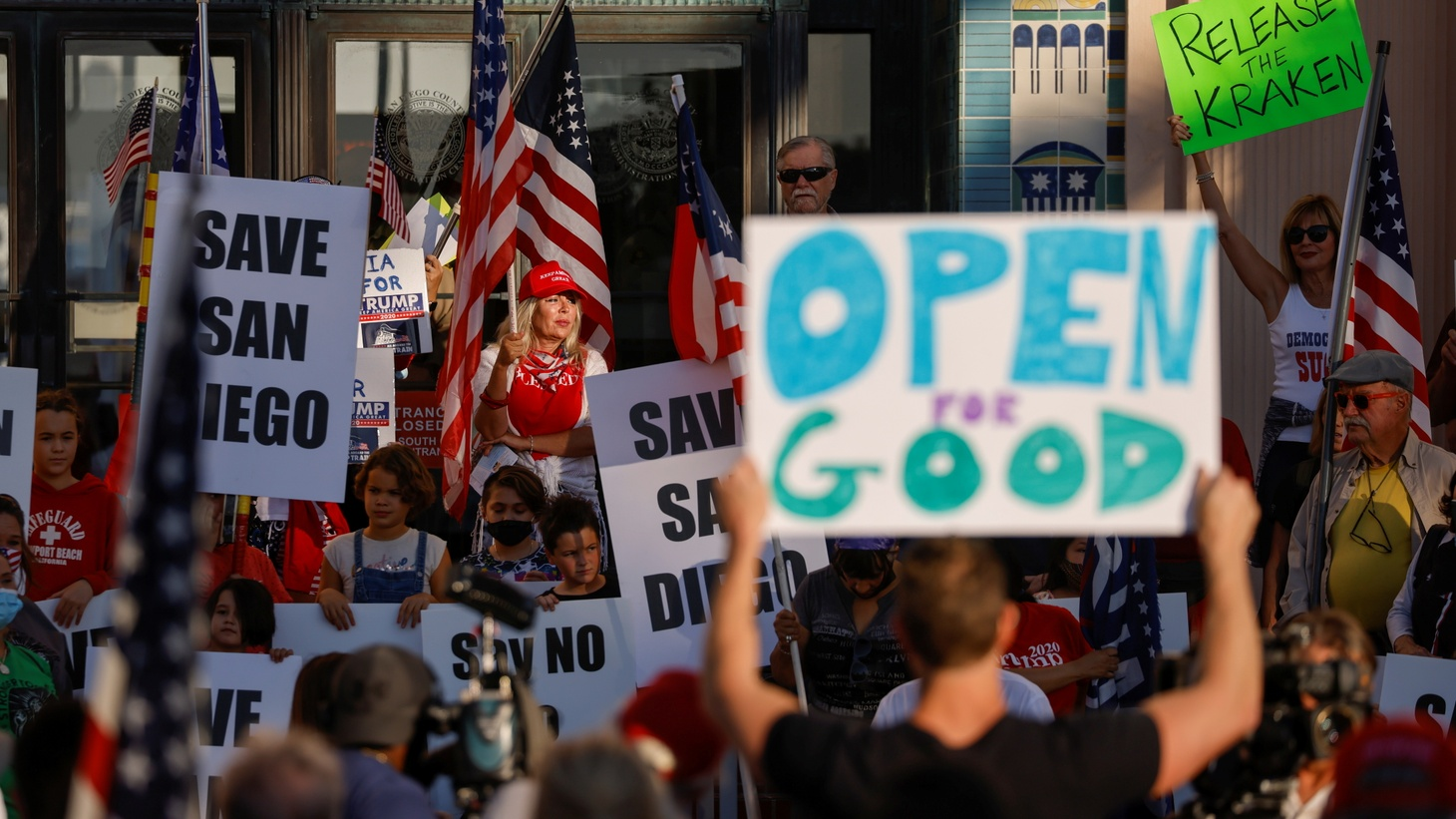 "Business owners protest to remain open despite state-mandated restrictions after high case rates placed San Diego County in the most restrictive ""purple"" tier during the COVID-19 outbreak, November 16, 2020."