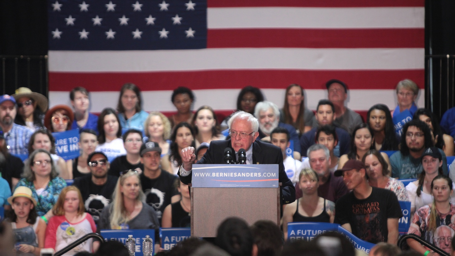 U.S. Senator Bernie Sanders speaking with supporters at the Agriculture Center at the Arizona State Fairgrounds in Phoenix, Arizona.