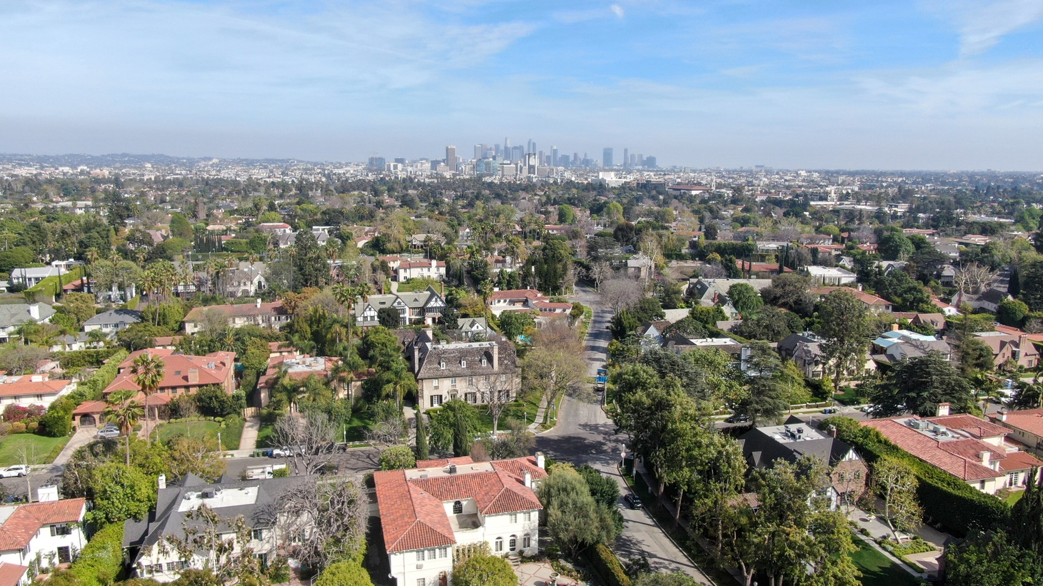 An aerial view of large homes in Central Los Angeles, California. USA.