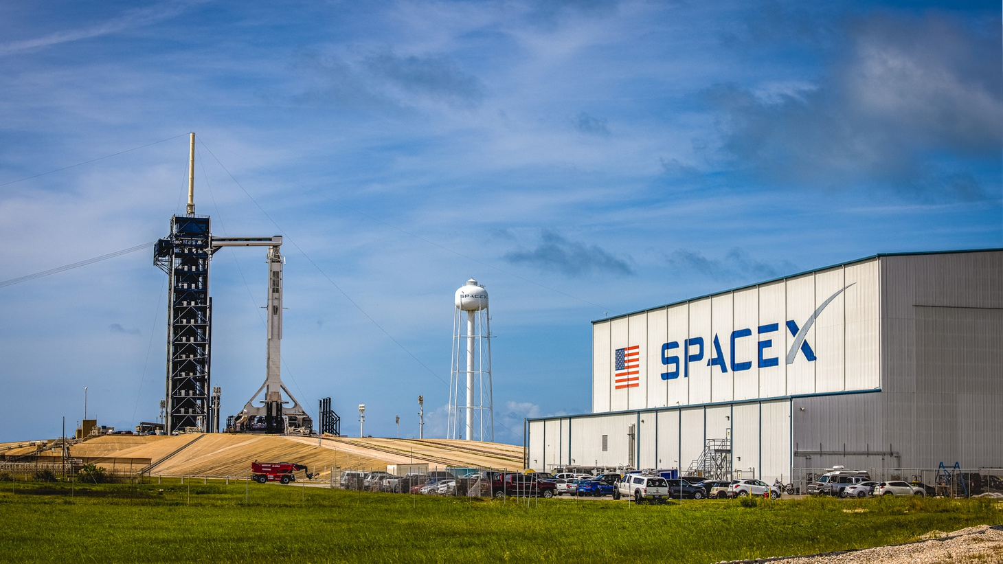 A SpaceX logo can be seen on a building at NASA's Kennedy Space Center in Florida, June 2, 2021.