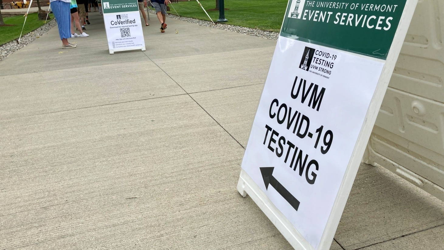 University of Vermont students moving into campus on Aug. 25, 2020 lined up to get a COVID-19 test as part of their first-day responsibilities.