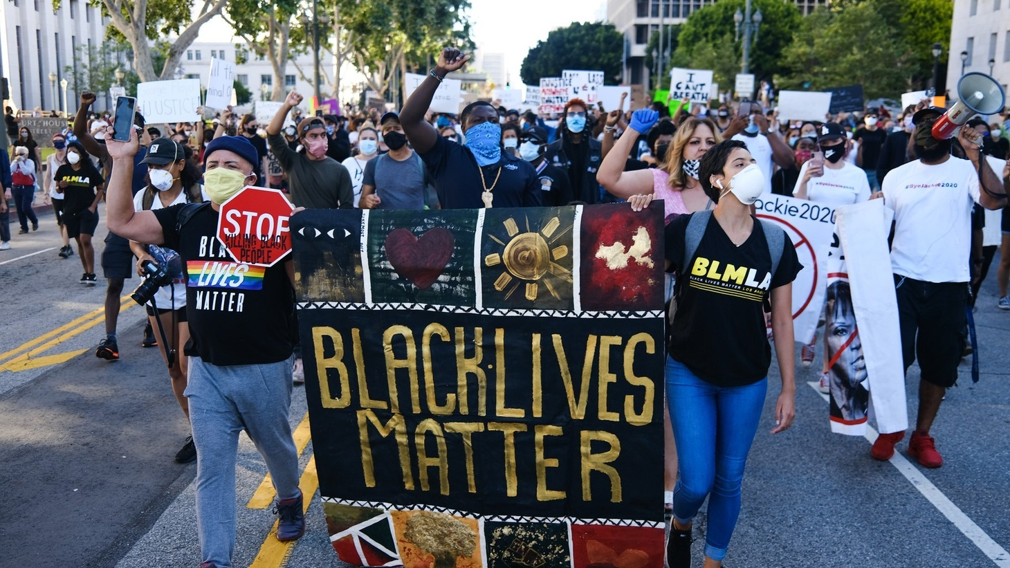 Members of Black Lives Matter LA protested through Civic Center near LAPD headquarters and LA City Hall, May 2020.