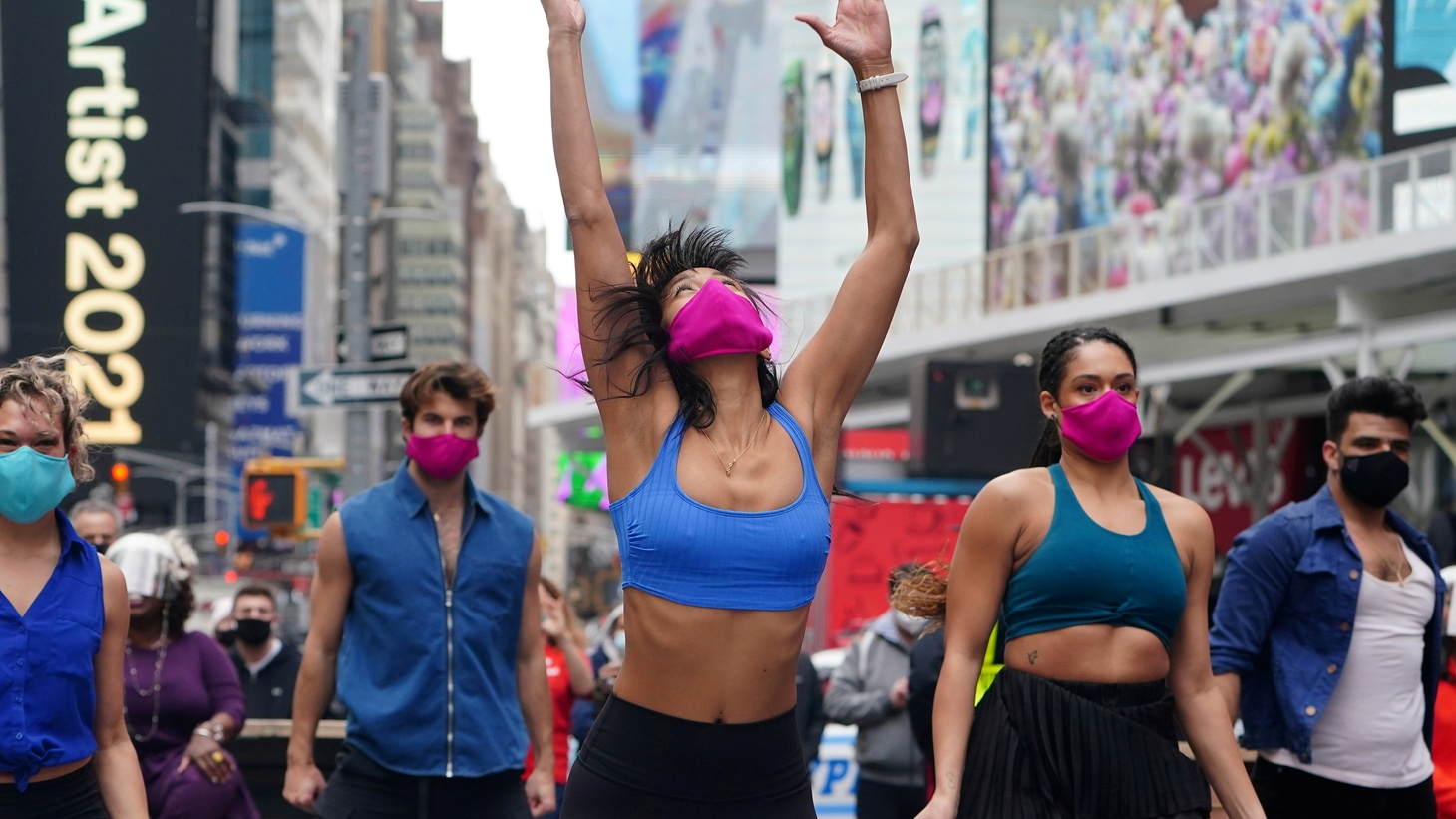 Performers take part in a pop-up Broadway performance in anticipation of Broadway reopening in Times Square amid the coronavirus disease (COVID-19) pandemic in the Manhattan borough of New York City, New York, U.S., March 12, 2021.