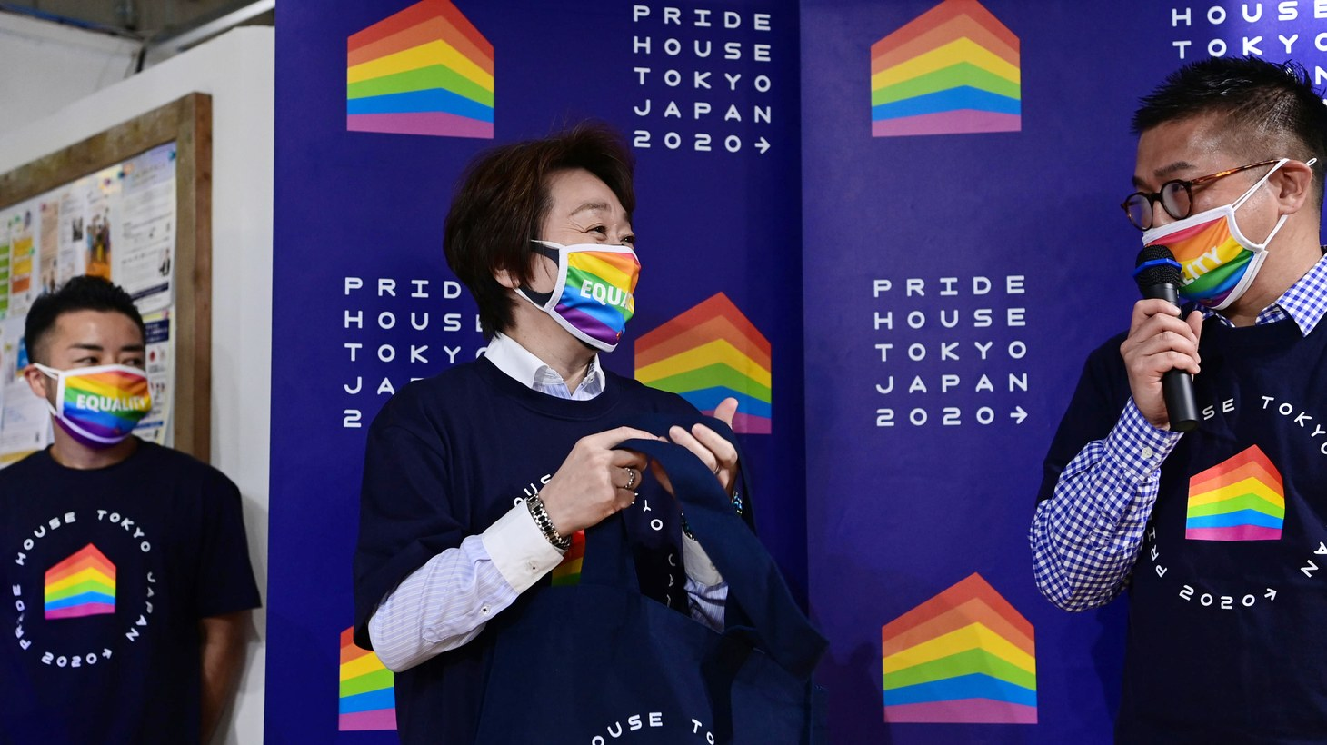 Seiko Hashimoto, President of Tokyo Organising Committee of the Olympic and Paralympic Games (TOCOG), visits Pride House Tokyo in Shinjuku Ward, Tokyo on April 27, 2021. The Pride House encourages LGBTQ athletes, their families and friends, spectators and local participants to enjoy the diversity-themed competition, while allowing the next generation of LGBTQ young people to gather with peace of mind.