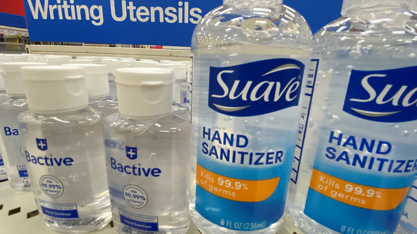 Hand sanitizer is shown near writing instruments at a Target store during the outbreak of COVID-19 in Encinitas, California, U.S., July 28, 2020.
