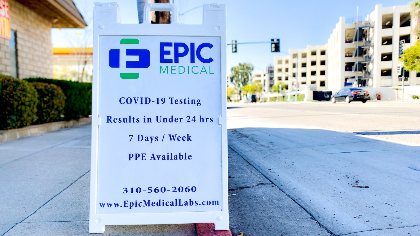 A medical center offers COVID-19 testing with results in less than 24 hours, Culver City, Los Angeles, California. December 7, 2020.