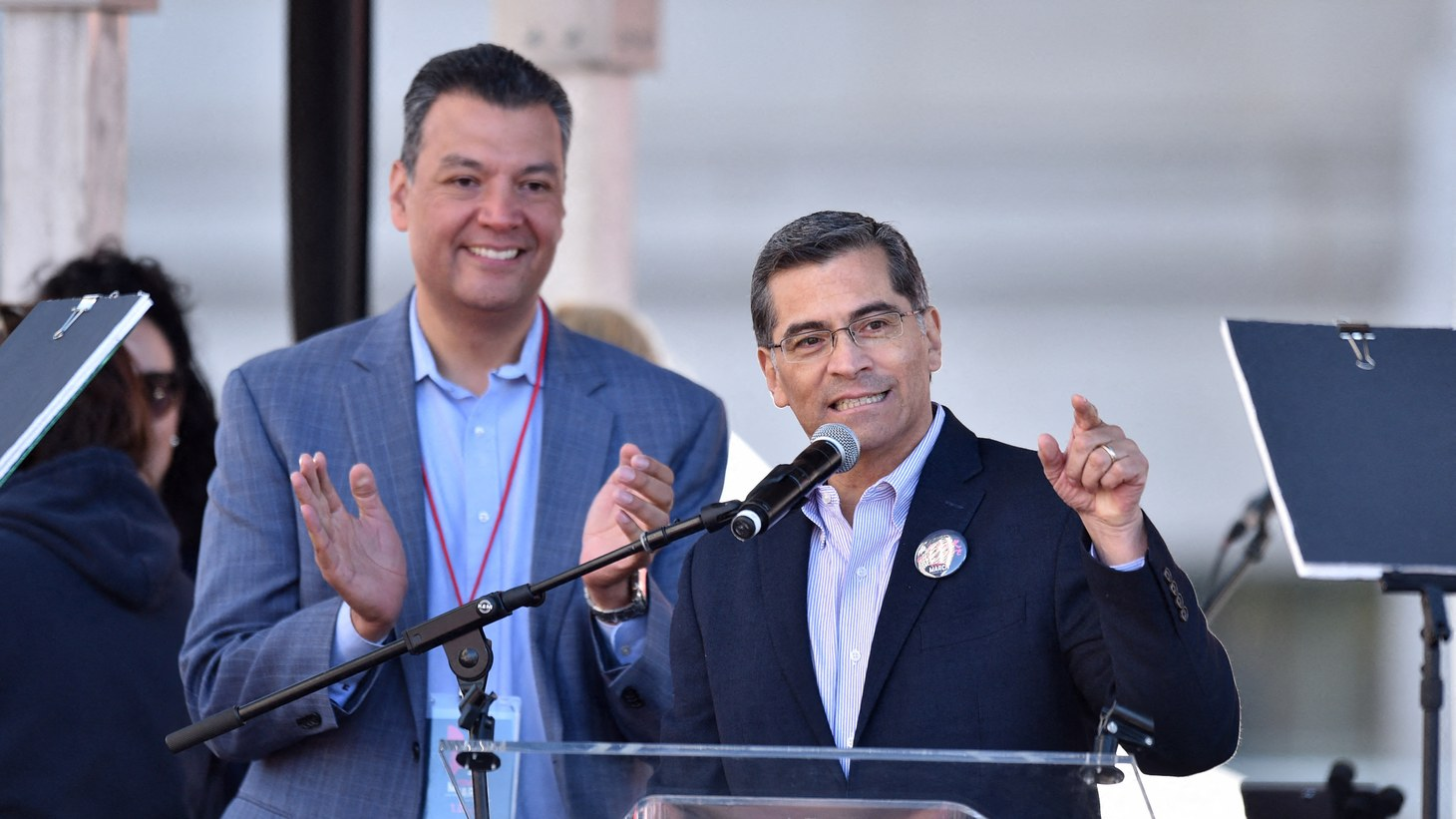 California Attorney General Xavier Becerra speaks during the 2018 Women's March in Los Angeles, CA, USA. President-elect Joe Biden has selected Becerra to serve as his Secretary of Health and Human Services who will help oversee the government's response to the coronavirus pandemic.