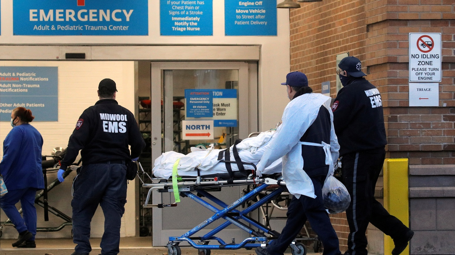 A patient arrives outside Maimonides Medical Center, as the spread of the coronavirus disease (COVID-19) continues, in Brooklyn, New York, U.S., November 17, 2020.