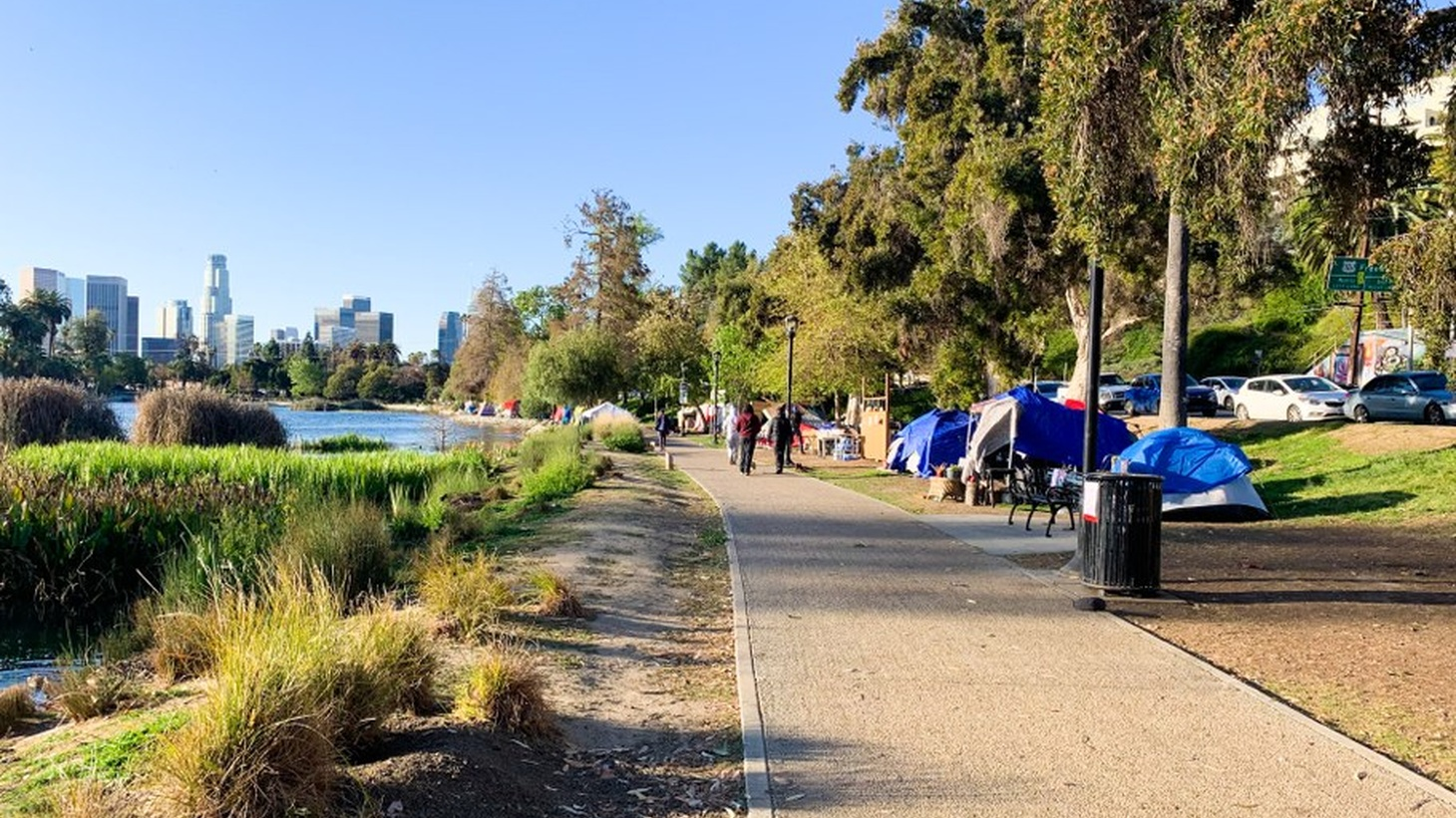 Echo Park Lake is lined with homeless tents, but the city wants to move out all these unhoused residents and shut down the area, March 24, 2021.