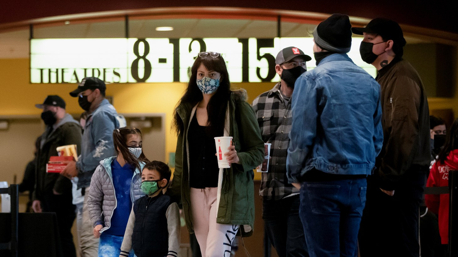 Moviegoers are pictured at an AMC theatre on reopening day during the outbreak of the coronavirus disease (COVID-19), in Burbank, California, U.S., March 15, 2021.