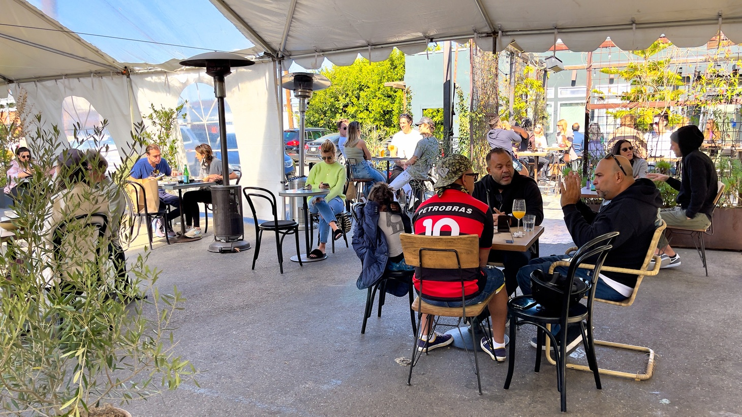 This cafe in Venice, California, recently resumed outdoor dining. The patio was crowded with customers on February 27, 2021.