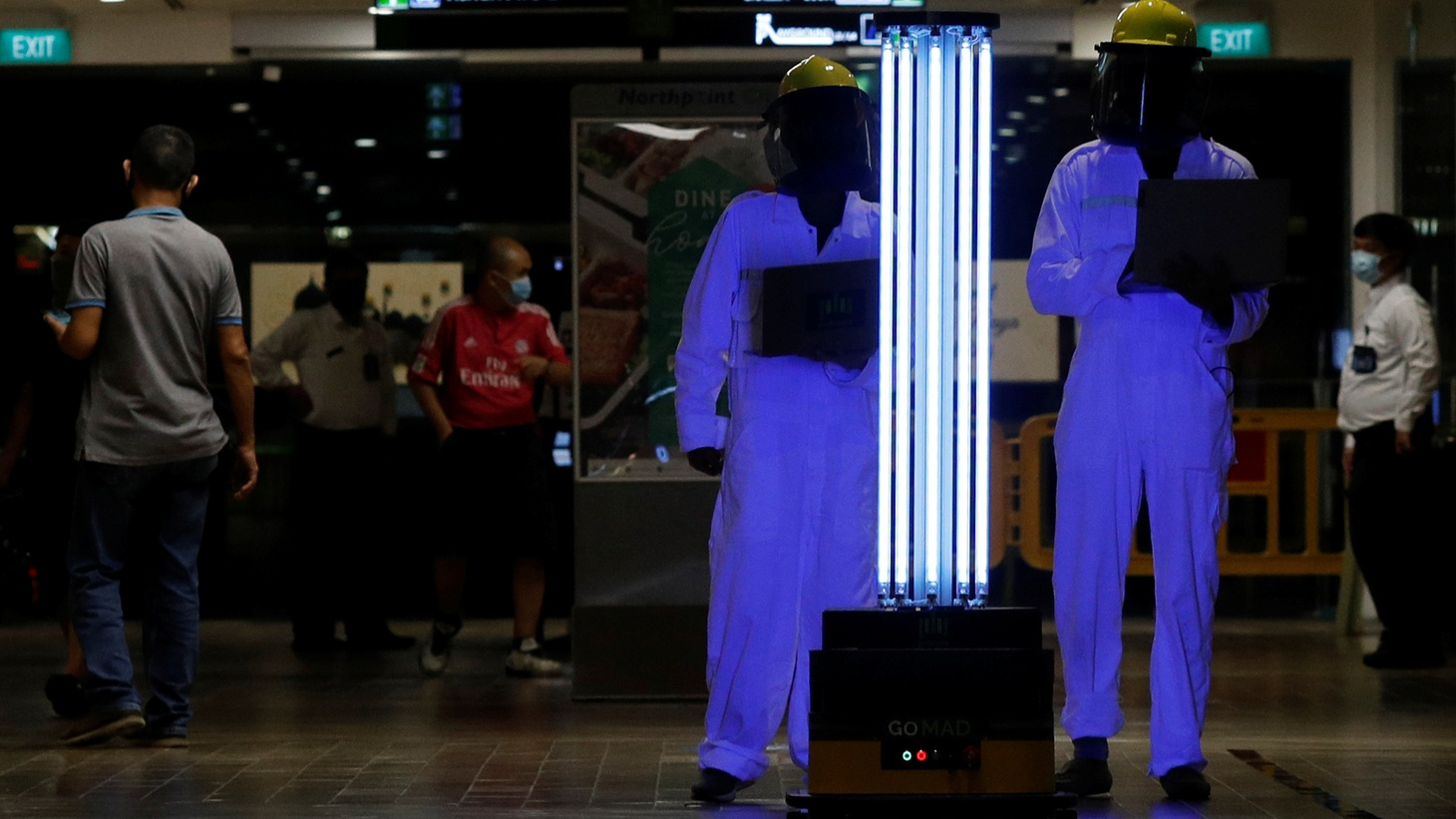 An autonomous mobile robot that disinfects surfaces with ultraviolet light, known as Sunburst UV Bot, is deployed at Northpoint City shopping mall amid the coronavirus disease (COVID-19) outbreak in Singapore, May 20, 2020.