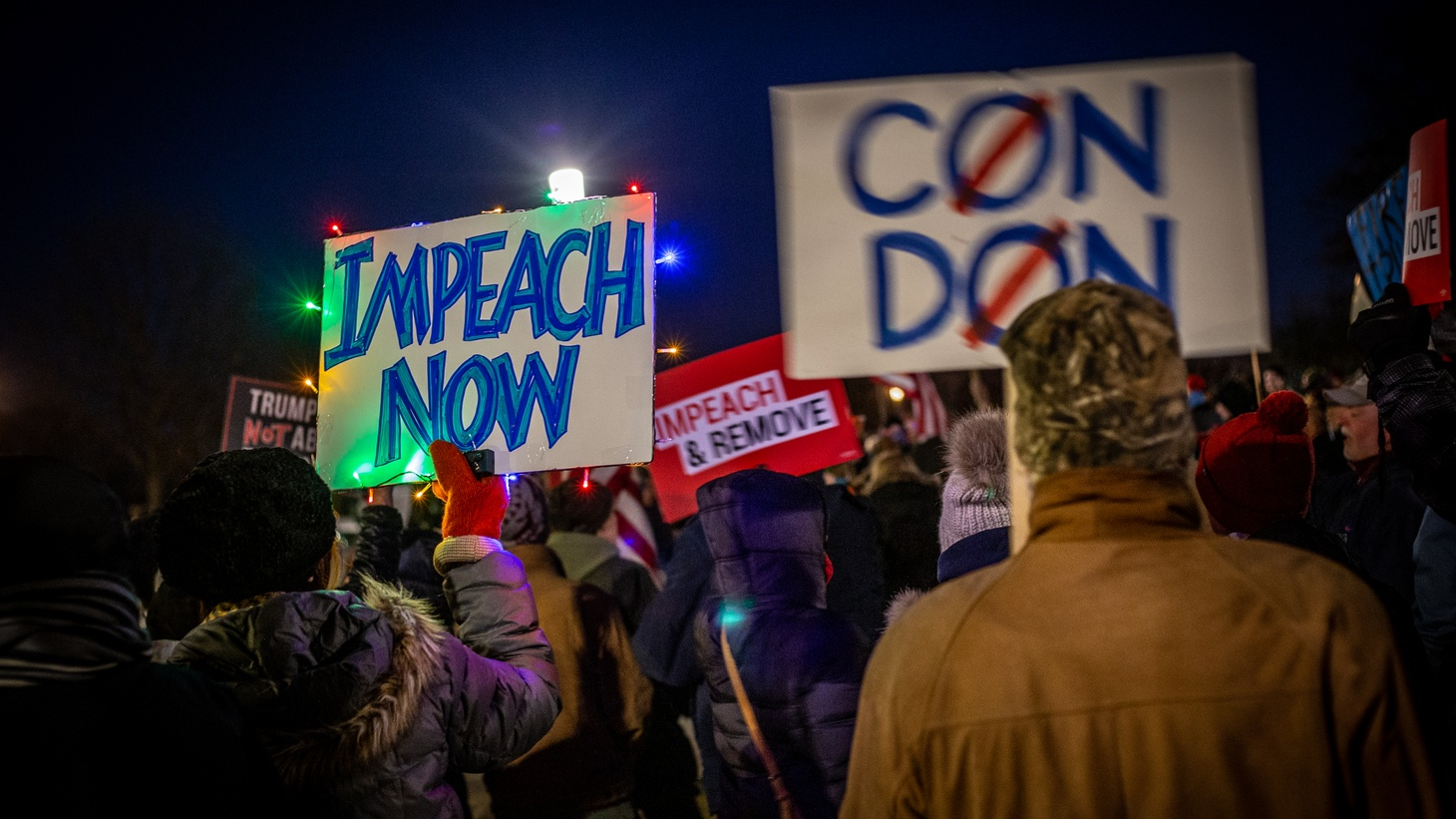 Hundreds of people gather in front of the Iowa State Capitol in Des Moines, calling for the impeachment of Donald Trump, December 17, 2019.