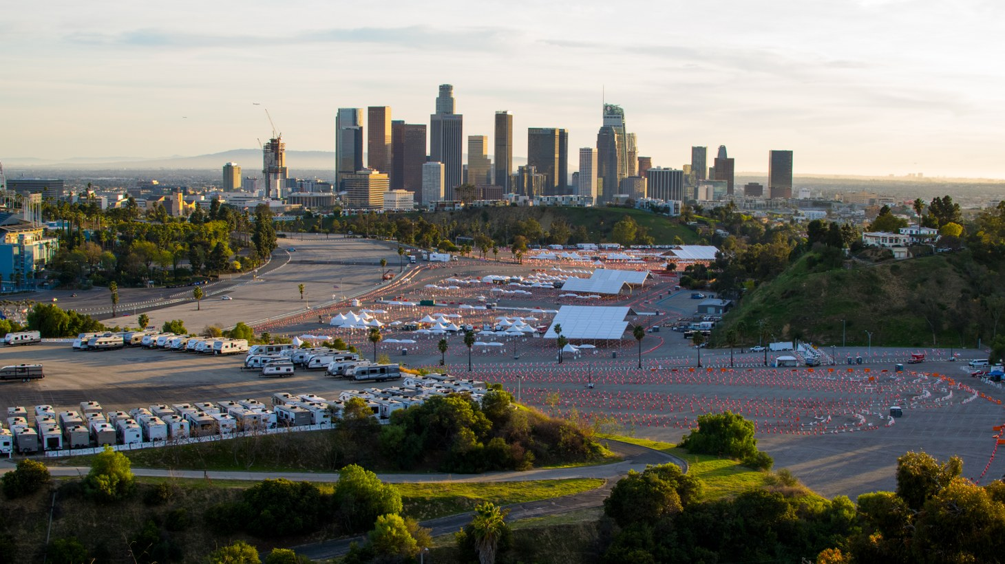 Dodger Stadium's coronavirus vaccination site shut down on February 12, 2021 due to shortages in doses. It's set to reopen on February 16, 2021.