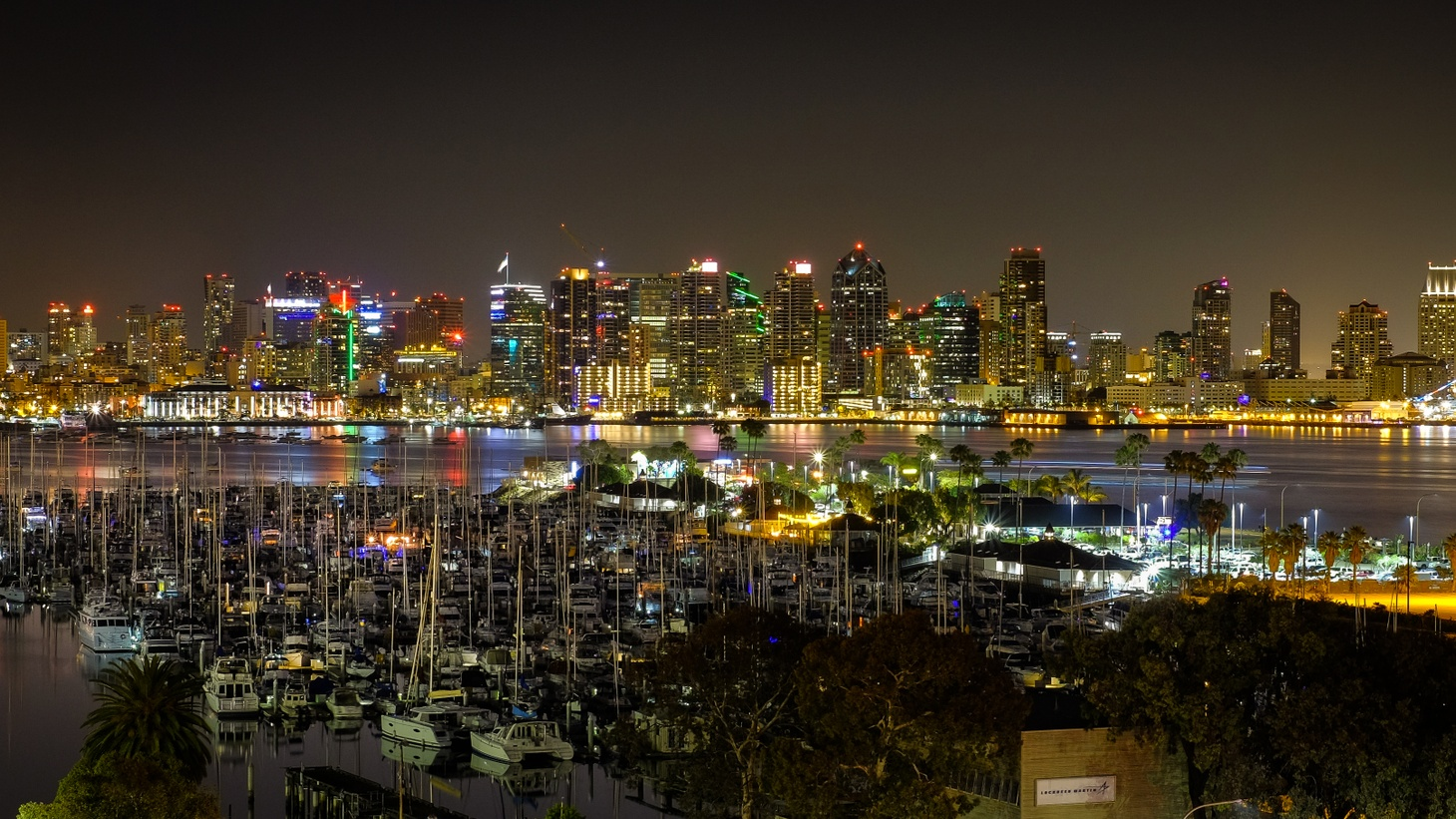 The night skyline of San Diego, where there's a legal fight over whether local strip clubs should remain open during California's coronavirus shutdown.