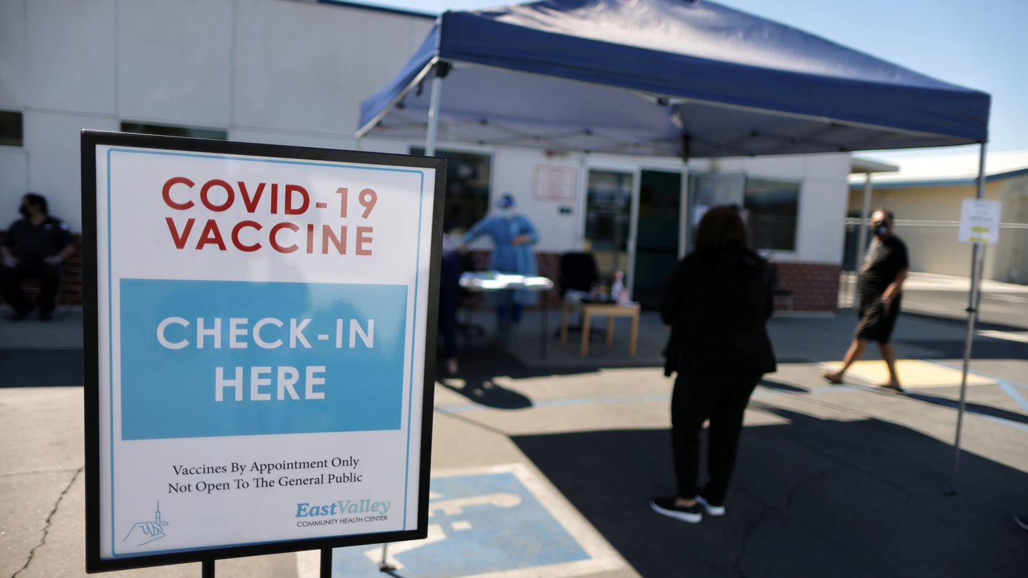 People arrive for coronavirus disease (COVID-19) vaccinations at East Valley Community Health Center in La Puente, California, U.S., March 5, 2021.