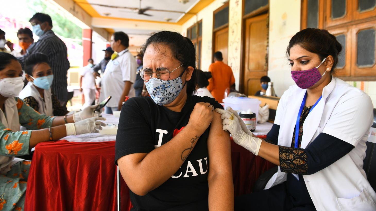 A young woman reacts as she receives a dose of Covishield (COVID-19 vaccine) during a special vaccination drive in Beawar. The first case of the Delta-plus variant of coronavirus in Rajasthan was found in Bikaner, India on June 27, 2021.